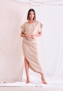 Beige Side Slit Dress