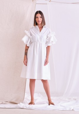 White Ruffle Sleeves Dress
