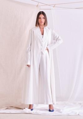 White Belted Maxi Cardigan Set