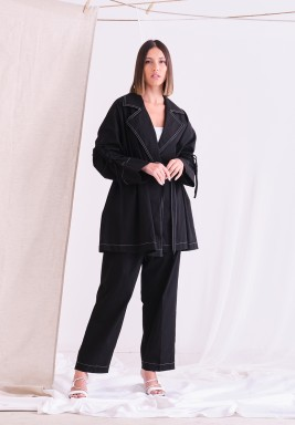 Black Linen Jacket with Belt & Pants
