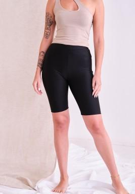 Metallic Black Biker Shorts