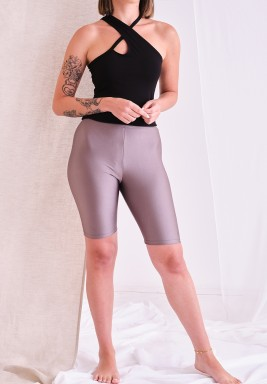 Metallic Grey Biker Shorts