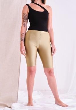 Metallic khaki Biker Shorts