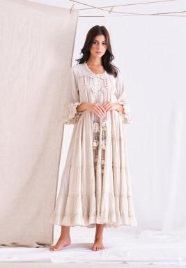 ECRU Long Dress With Tassel & Lace