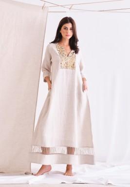 Beige Linen Long Dress With Embellishment