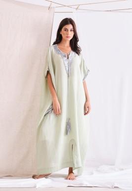 Grape Green Linen Kaftan With Embellishment & Tassel