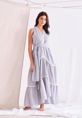 Light Blue Striped Maxi Dress With Belt