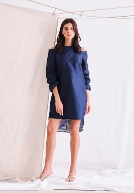 Blue Jacquard floral dress