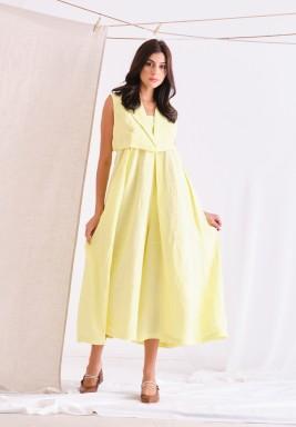 Yellow Linen Jumpsuit Set