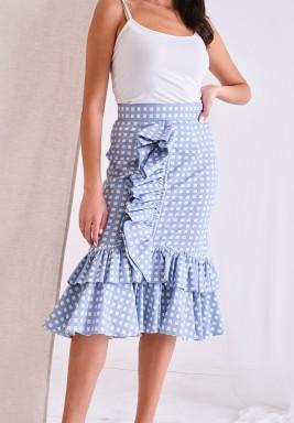 White & Blue Checked Ruffled Skirt