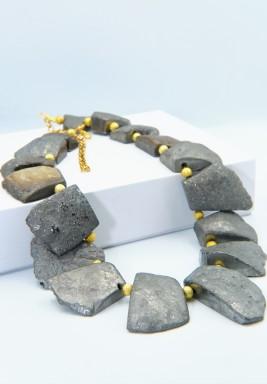 Rare Rough Silver Agate Bronze Golden Balls Necklace