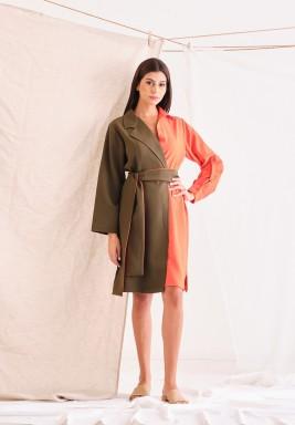 Olive Green & Peach Shirt Dress