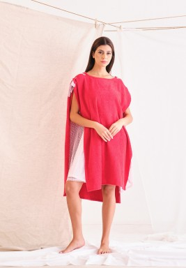 Red Towel Dress with Pink Net