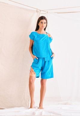Blue Short & Top Set with Bright Orange Lace
