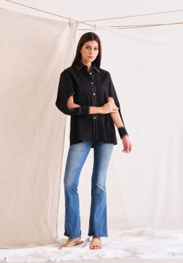 Black Open Sleeves Shirt