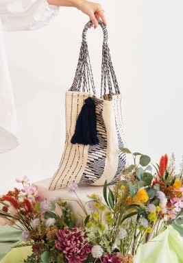 Off-white & Blue Crochet Tote Bag with Handle Cotton