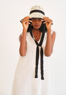 Beach white with Black Ribbon lace Hat