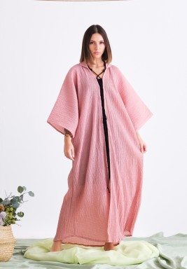 Pink Coverup with Black Robe