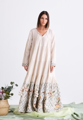 Beige Long Dress with Embroidery