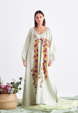 Long Dress with Tassel & Embroidery