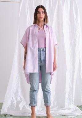 Oversized Short Sleeve Purple Shirt