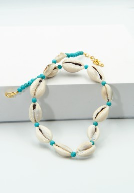 BL Blue beaded Gold Plated and sea shells Chocker Necklace