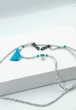 BL Silver Beaded Eyeglasses Chain with Blue Eye and Tassel