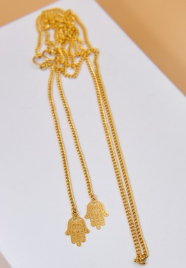 BL Gold Plated Eyeglasses Chain with Hamsa Charm