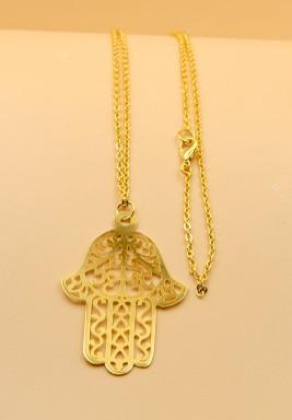 BL Gold Plated Big Hamsa Long Necklace