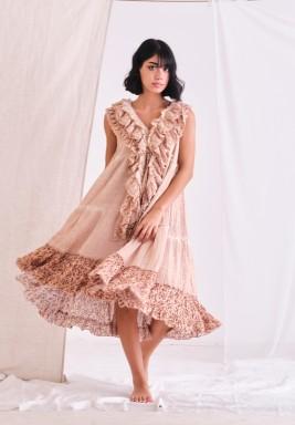 Peach Beige Baby Doll Dress with Ruffles & CPT Dye