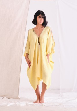 Yellow Mid Lenght Kaftan Cut Out From Sholder with Embellishment