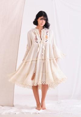 Gardenia Dress with Embroider Patch & Ruffel & Tassel