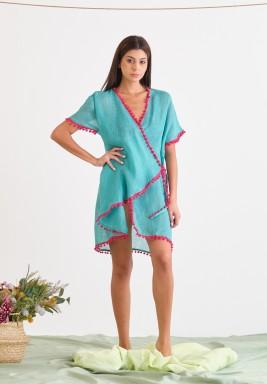 Blue Linen Cover-Up