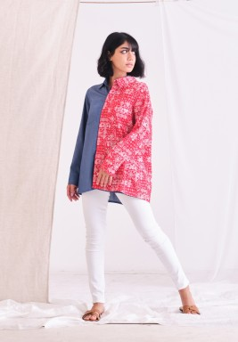 Red & Blue Jeans Pasely Shirt