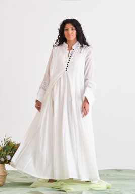 White Kaftan with Black Buttons