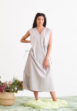 Grey Sleeveless Side Tie Dress