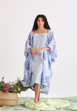 Blue Printed Bisht & Dress Set
