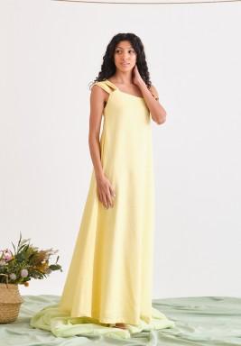 Light Yellow Sleevless Summer Dress