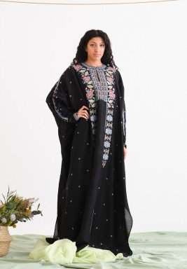 Black Embroidered Dress with Inner Cami