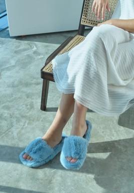Blue Single Strap Fur Slipper