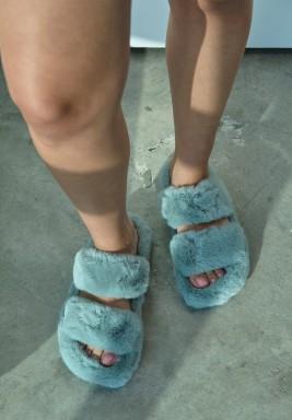 Blue Double Strap Fur Slipper