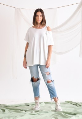 White One Cold Shoulder T-Shirt