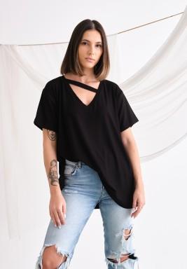 Black Asymmetrical Line Neck T-Shirt