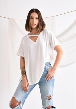 White Asymmetrical Line Neck T-Shirt