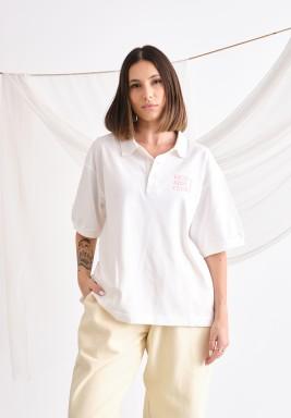 Girls Oversized White Polo
