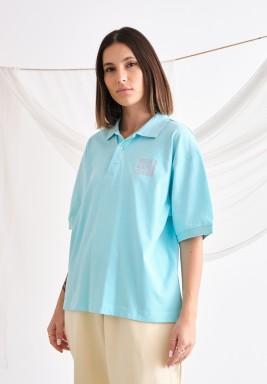 Girls Oversized Blue Polo
