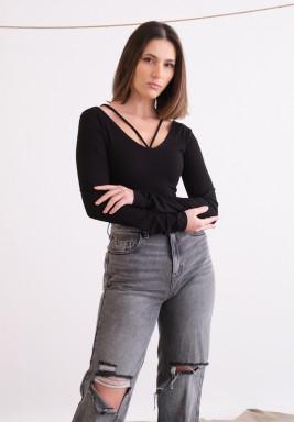 Black Halterneck Long Sleeves Top