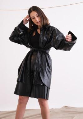 Black Oversized Leather Shirt with Belt