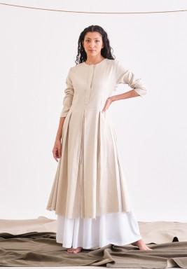 Beige & White Seafull Long Sleeves Dress