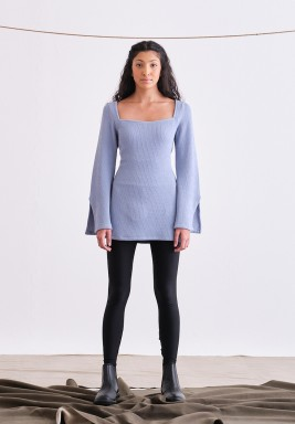 Baby blue Ribbed Long Sleeve Top